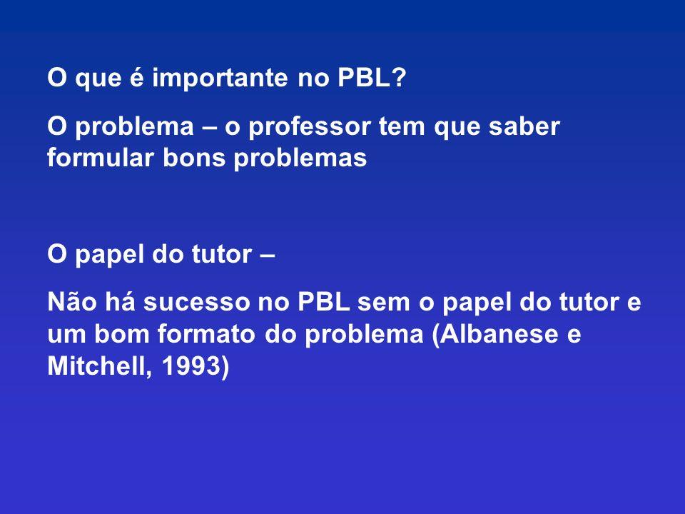 O que é importante no PBL