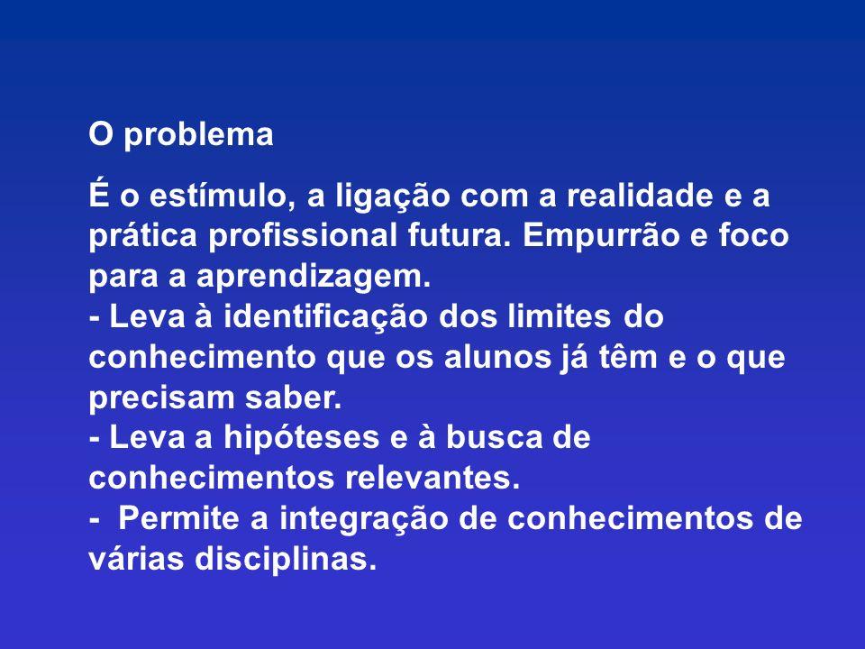 O problema É o estímulo, a ligação com a realidade e a prática profissional futura. Empurrão e foco para a aprendizagem.