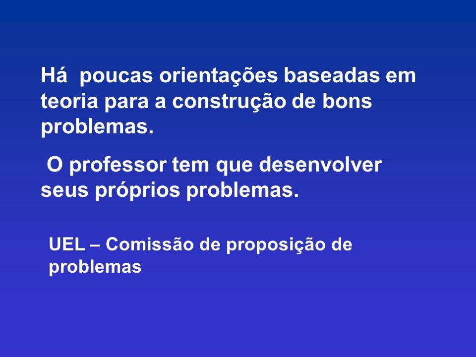 O professor tem que desenvolver seus próprios problemas.