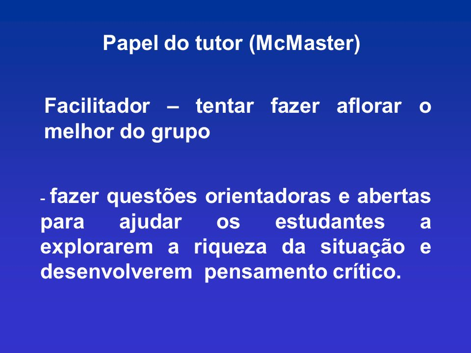 Papel do tutor (McMaster)