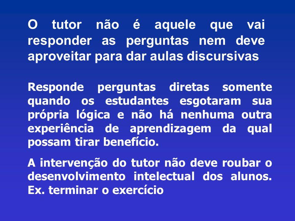 O tutor não é aquele que vai responder as perguntas nem deve aproveitar para dar aulas discursivas