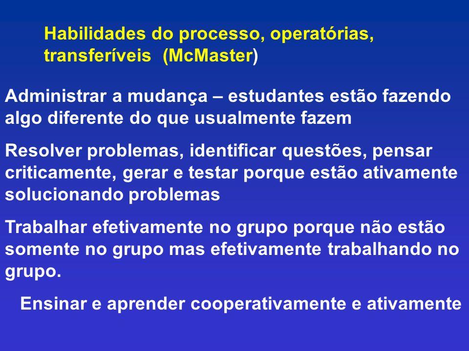 Habilidades do processo, operatórias, transferíveis (McMaster)