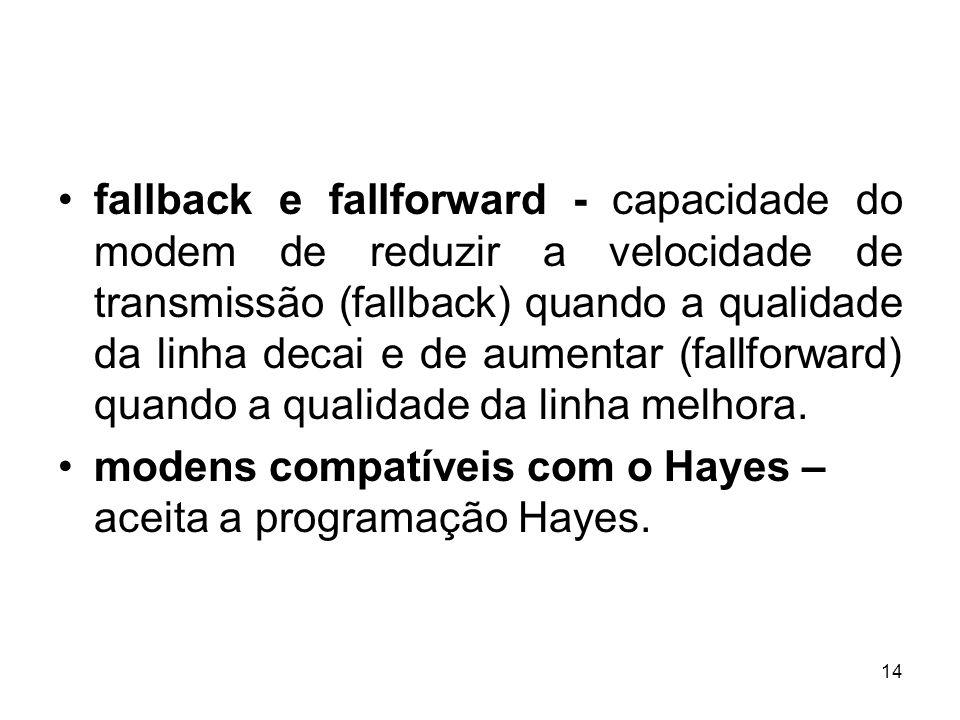 fallback e fallforward - capacidade do modem de reduzir a velocidade de transmissão (fallback) quando a qualidade da linha decai e de aumentar (fallforward) quando a qualidade da linha melhora.