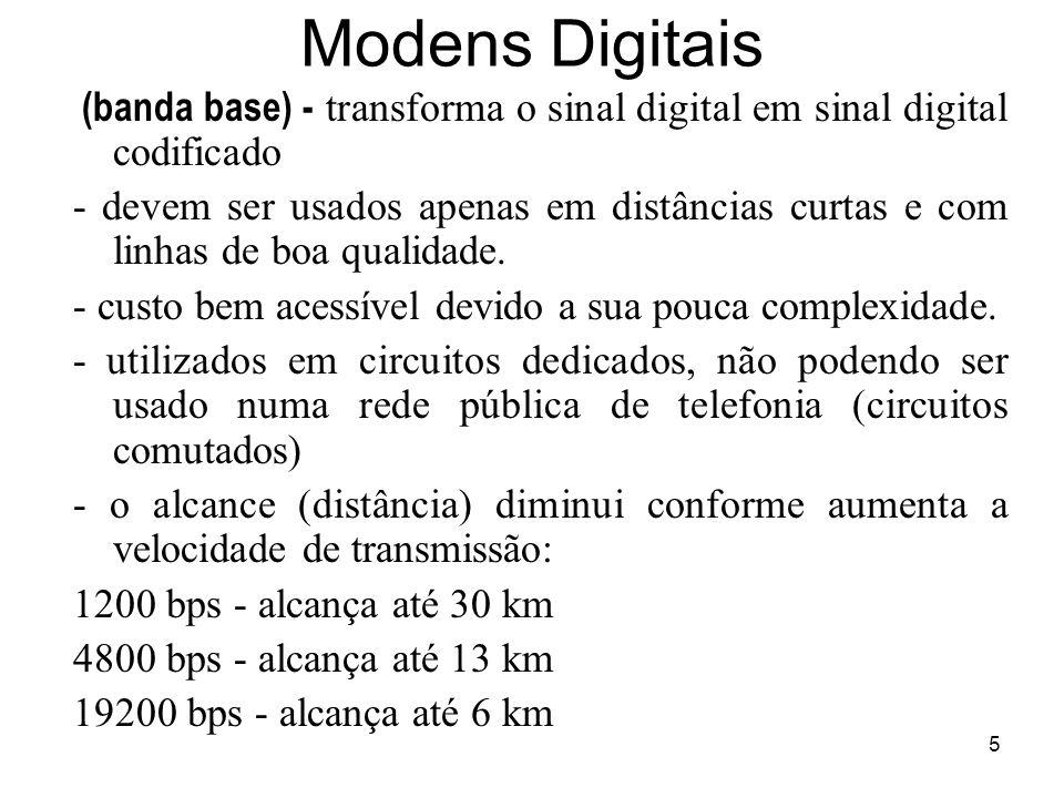 Modens Digitais (banda base) - transforma o sinal digital em sinal digital codificado.