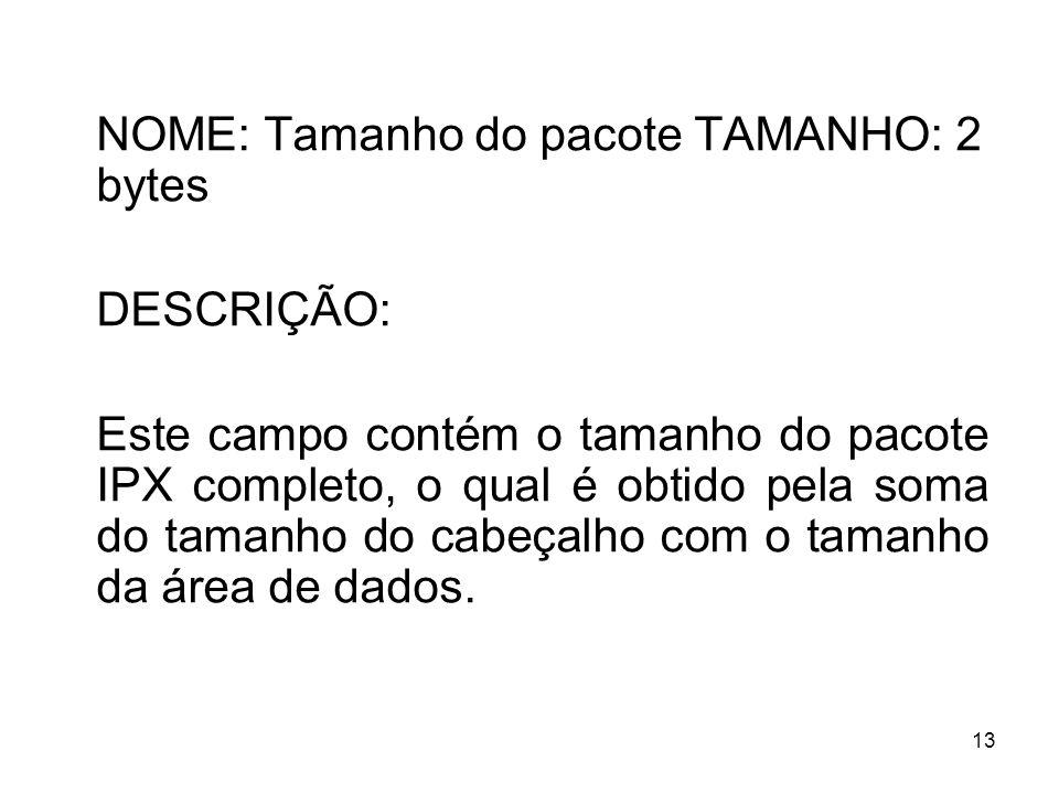 NOME: Tamanho do pacote TAMANHO: 2 bytes