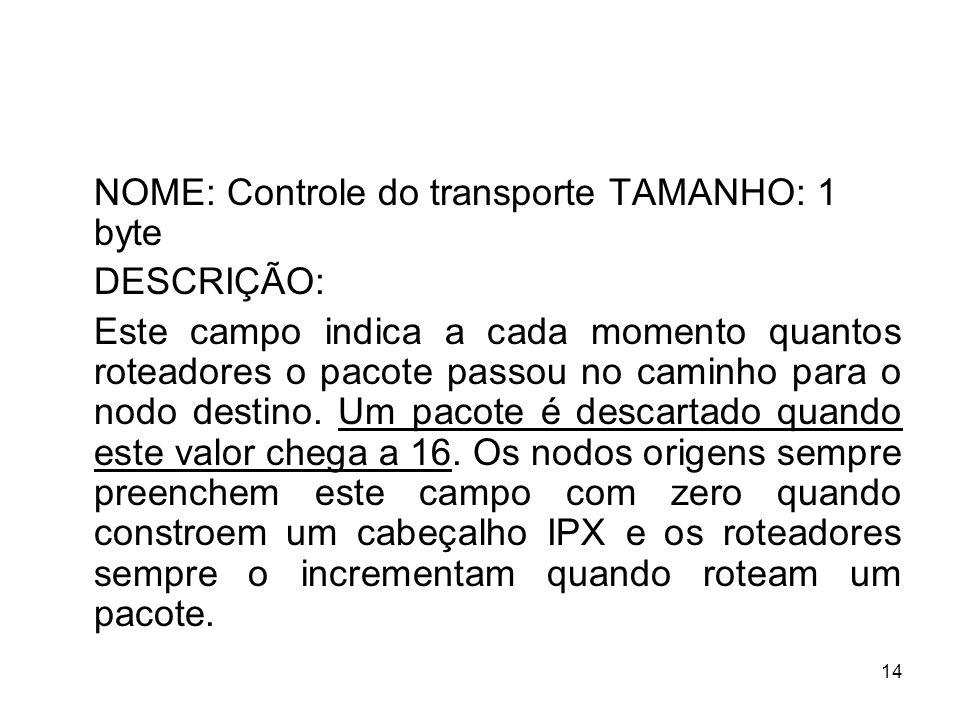 NOME: Controle do transporte TAMANHO: 1 byte