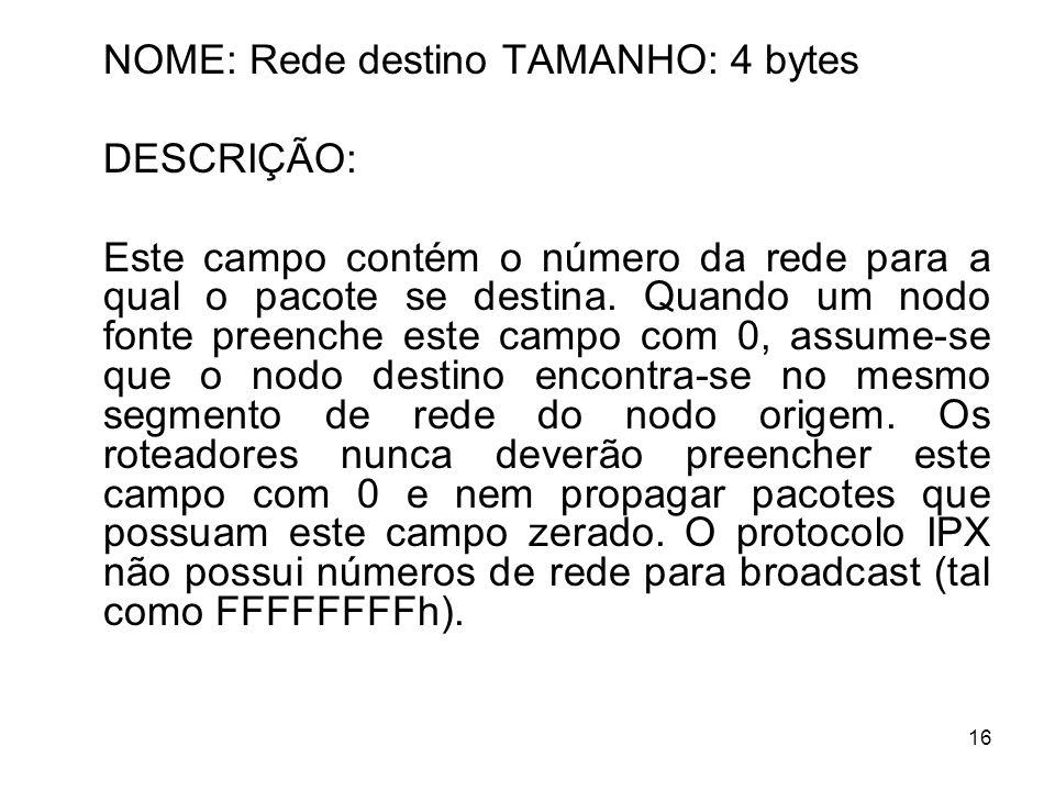 NOME: Rede destino TAMANHO: 4 bytes