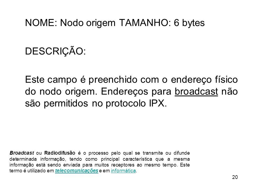 NOME: Nodo origem TAMANHO: 6 bytes DESCRIÇÃO: