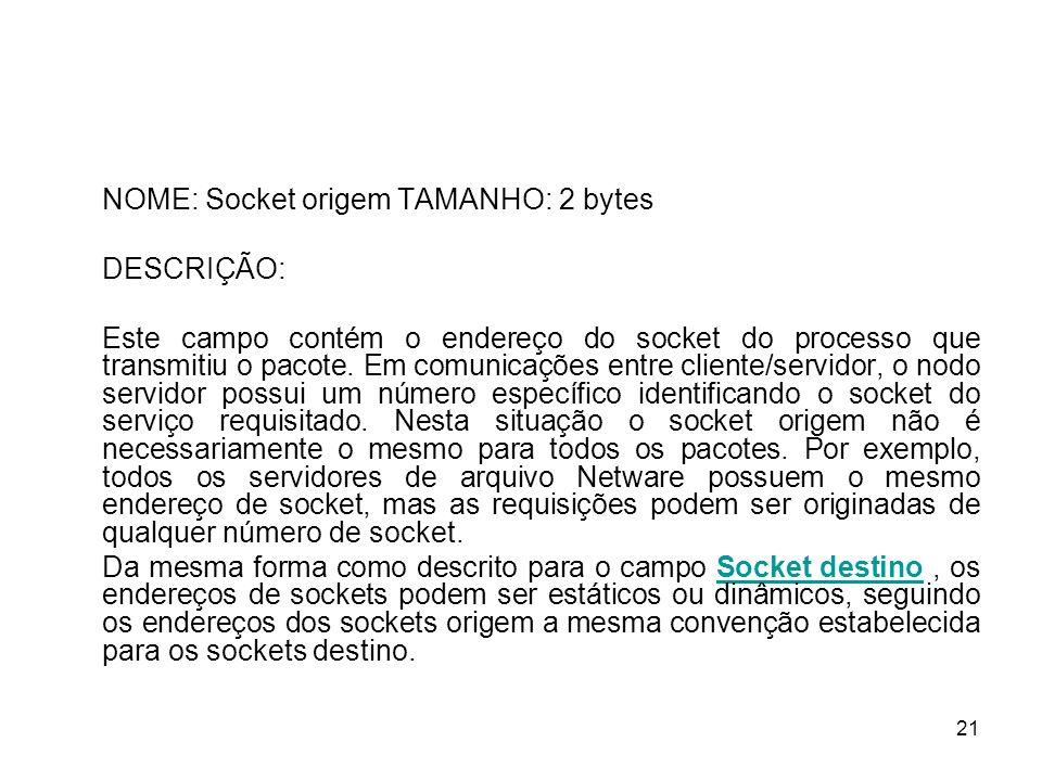 NOME: Socket origem TAMANHO: 2 bytes