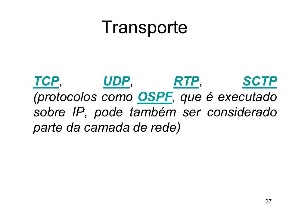 Transporte TCP, UDP, RTP, SCTP (protocolos como OSPF, que é executado sobre IP, pode também ser considerado parte da camada de rede)