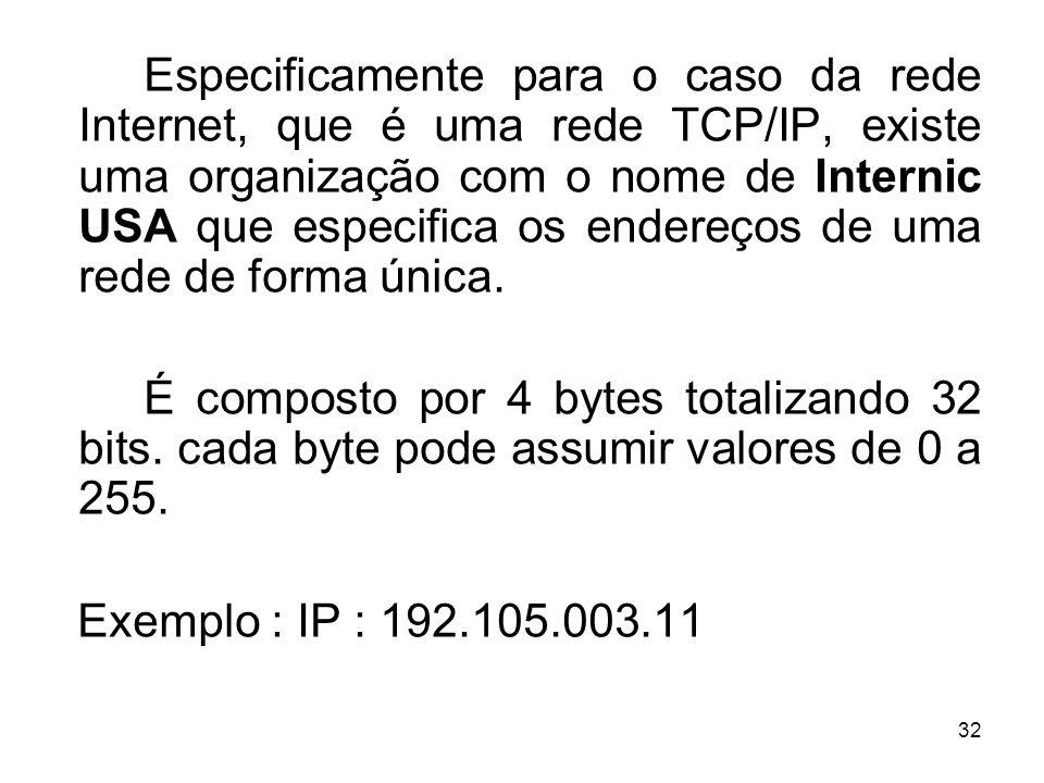 Especificamente para o caso da rede Internet, que é uma rede TCP/IP, existe uma organização com o nome de Internic USA que especifica os endereços de uma rede de forma única.