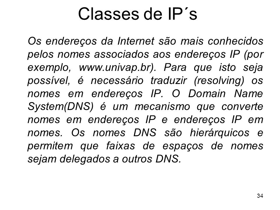 Classes de IP´s