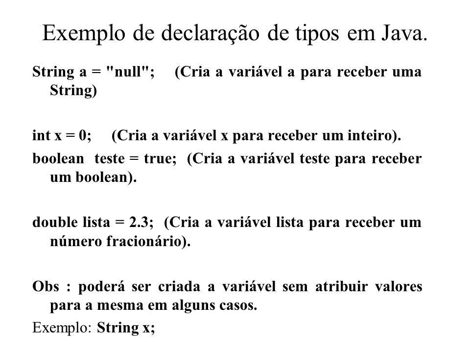 Exemplo de declaração de tipos em Java.