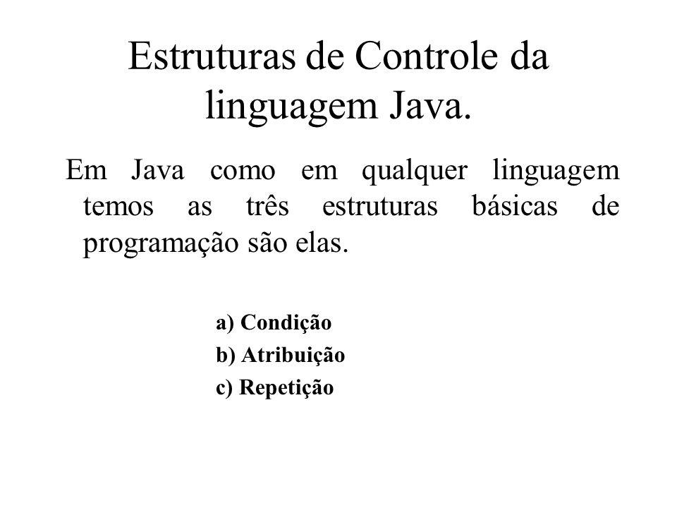 Estruturas de Controle da linguagem Java.