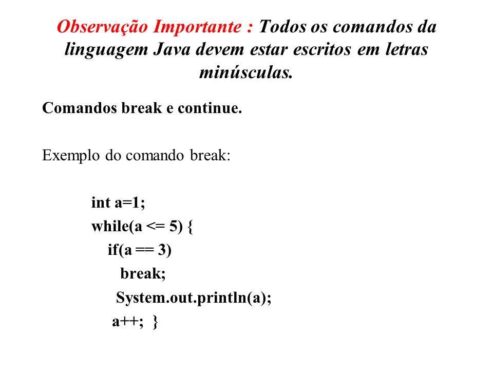 Observação Importante : Todos os comandos da linguagem Java devem estar escritos em letras minúsculas.