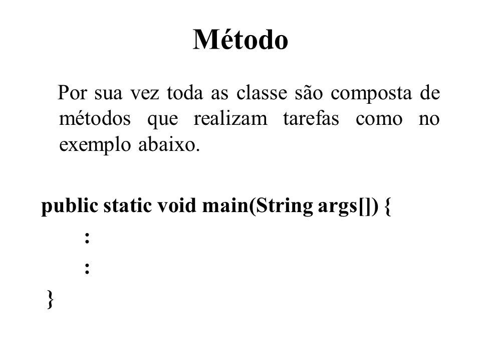 Método Por sua vez toda as classe são composta de métodos que realizam tarefas como no exemplo abaixo.