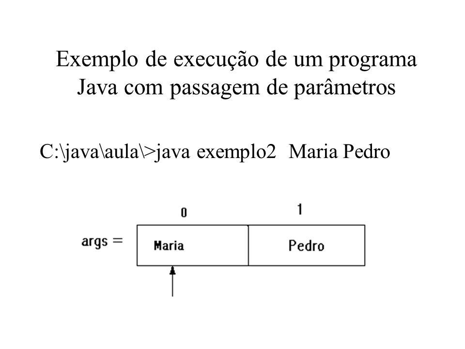 Exemplo de execução de um programa Java com passagem de parâmetros