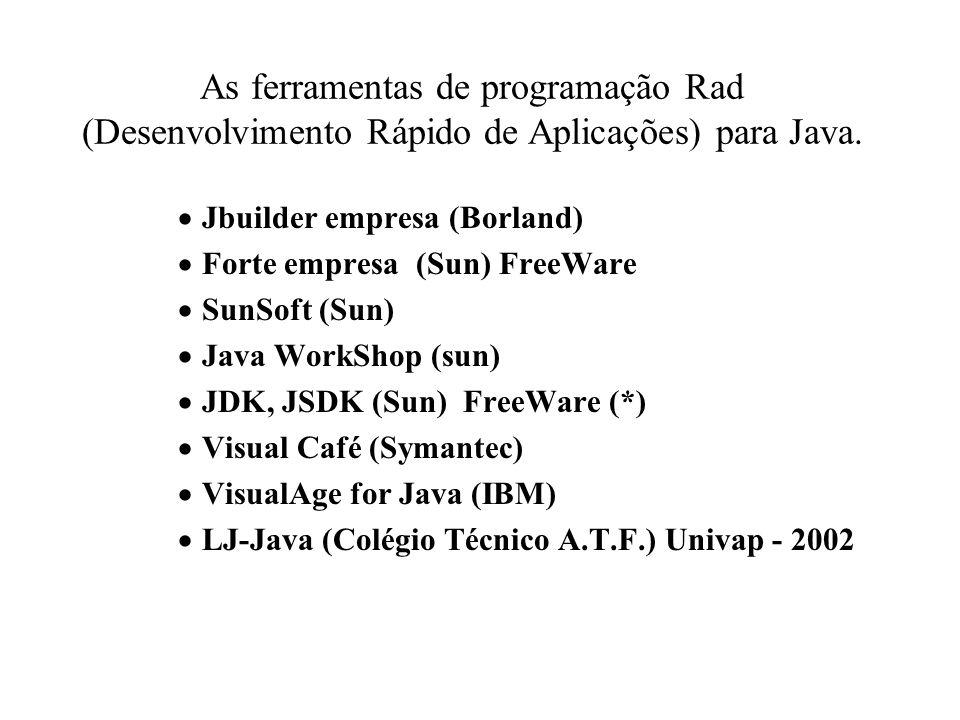 As ferramentas de programação Rad (Desenvolvimento Rápido de Aplicações) para Java.