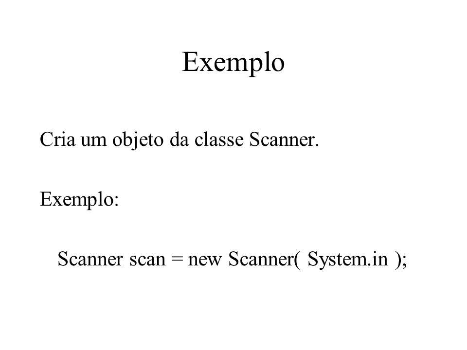 Exemplo Cria um objeto da classe Scanner. Exemplo: