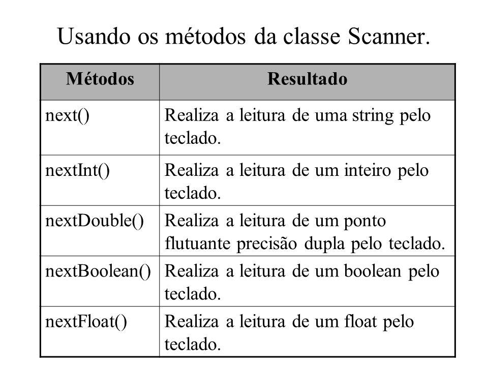 Usando os métodos da classe Scanner.