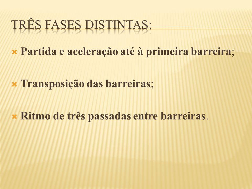 Três fases distintas: Partida e aceleração até à primeira barreira;