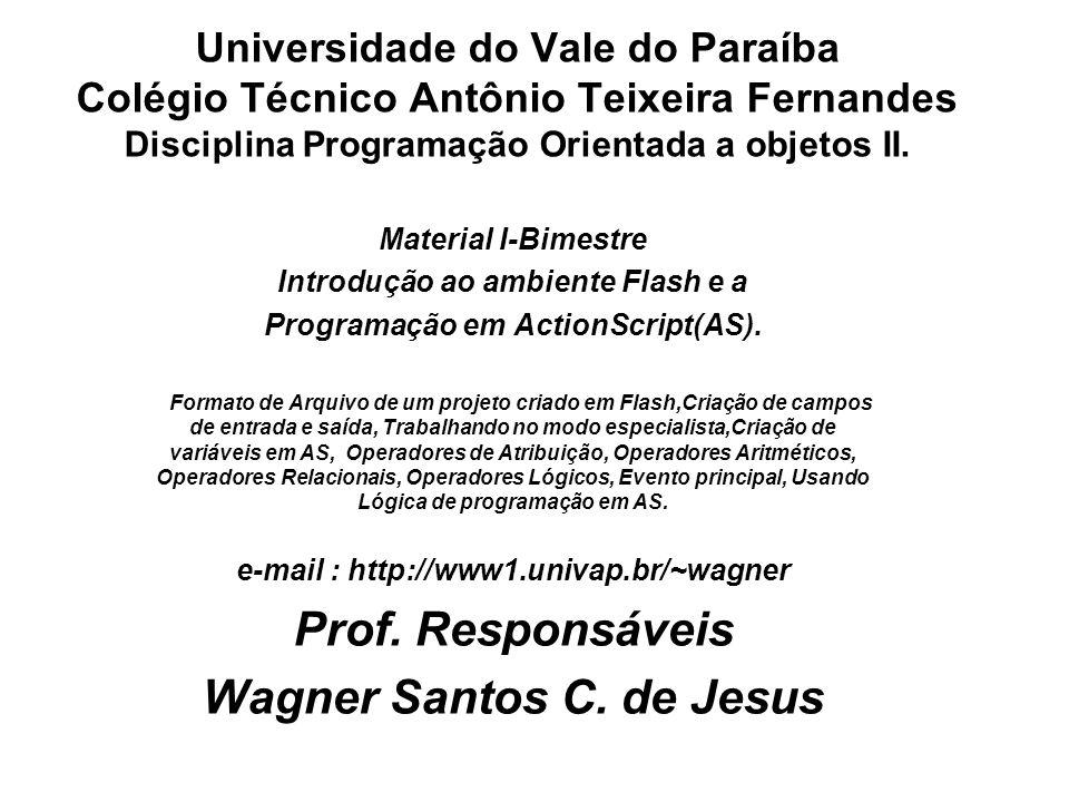 Prof. Responsáveis Wagner Santos C. de Jesus