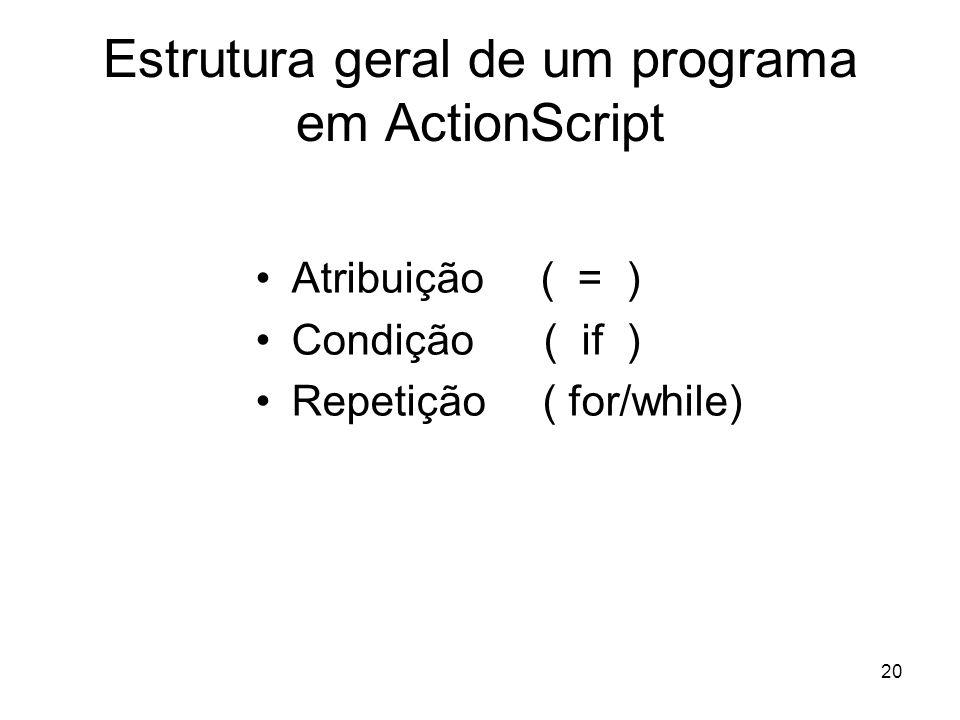 Estrutura geral de um programa em ActionScript