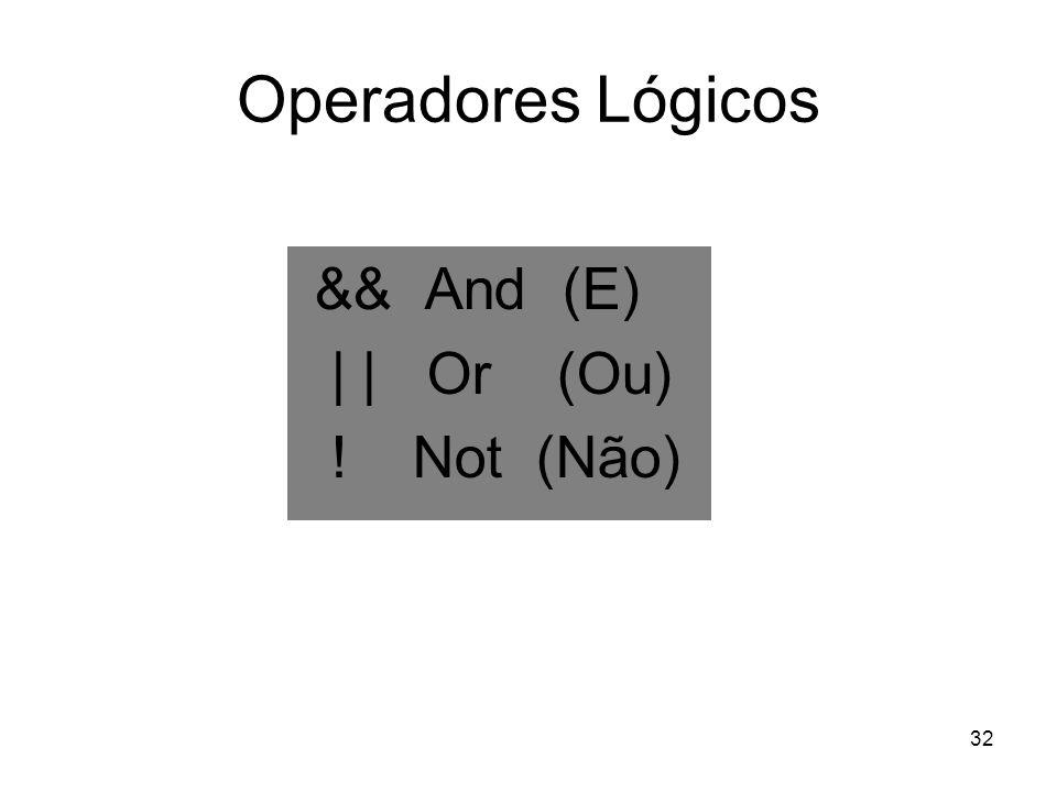 Operadores Lógicos && And (E) | | Or (Ou) ! Not (Não)