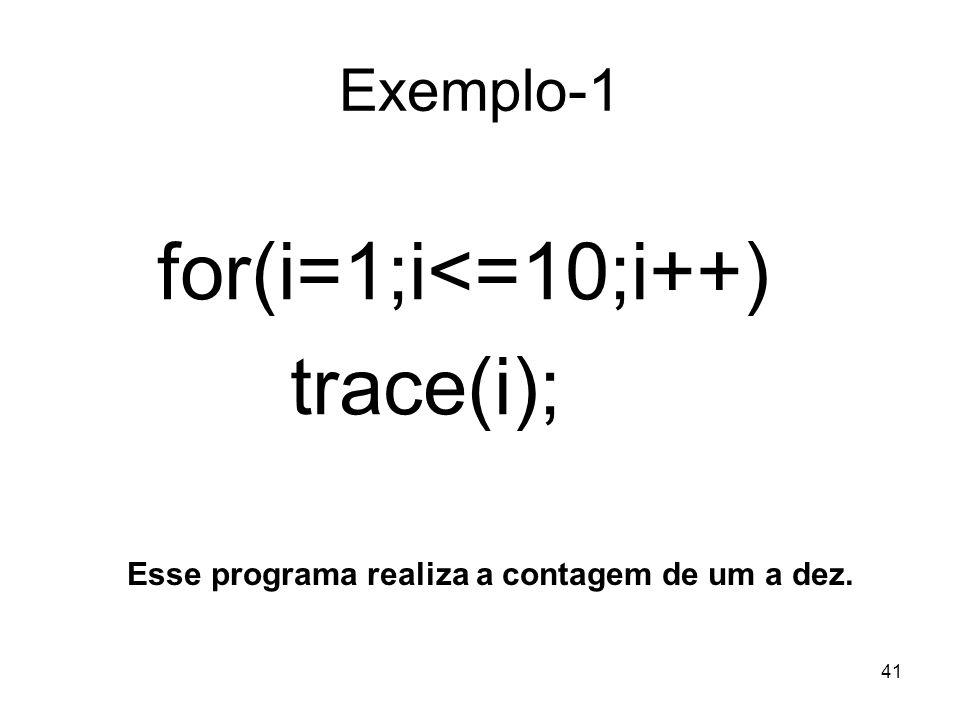 for(i=1;i<=10;i++) trace(i); Exemplo-1