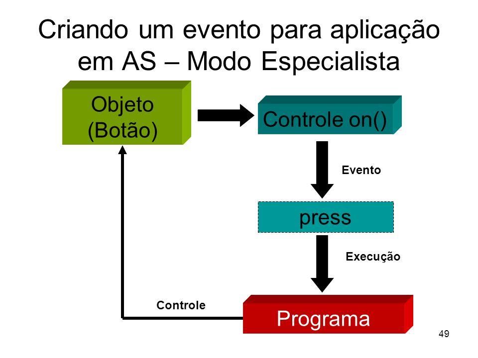 Criando um evento para aplicação em AS – Modo Especialista