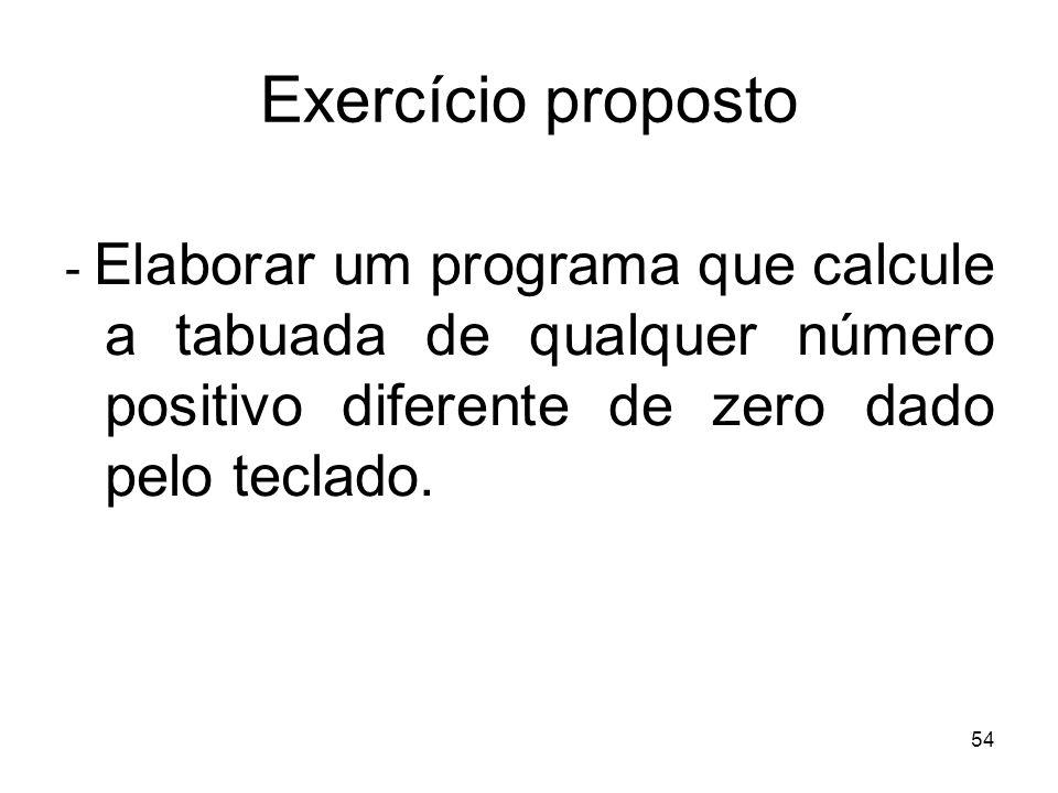Exercício proposto- Elaborar um programa que calcule a tabuada de qualquer número positivo diferente de zero dado pelo teclado.