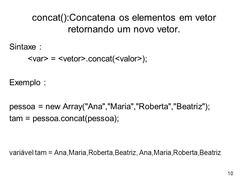 concat():Concatena os elementos em vetor retornando um novo vetor.
