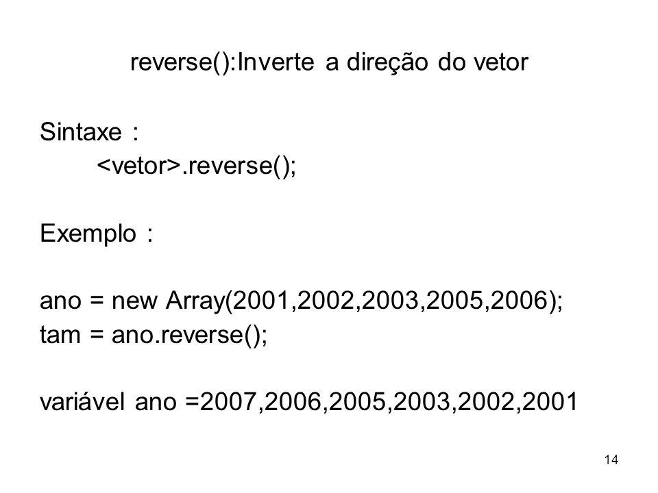 reverse():Inverte a direção do vetor