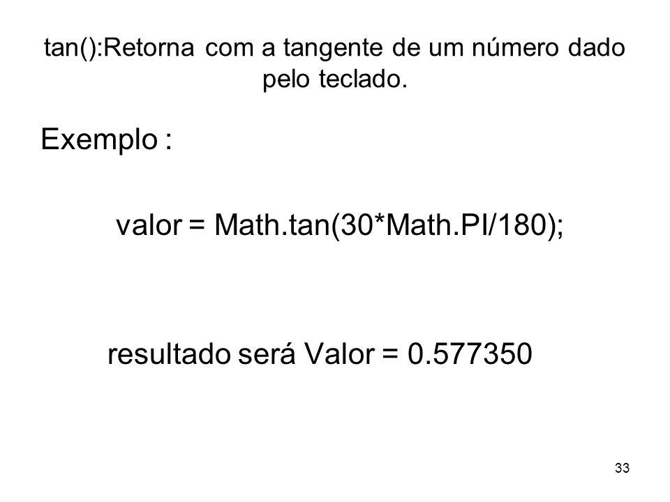 tan():Retorna com a tangente de um número dado pelo teclado.