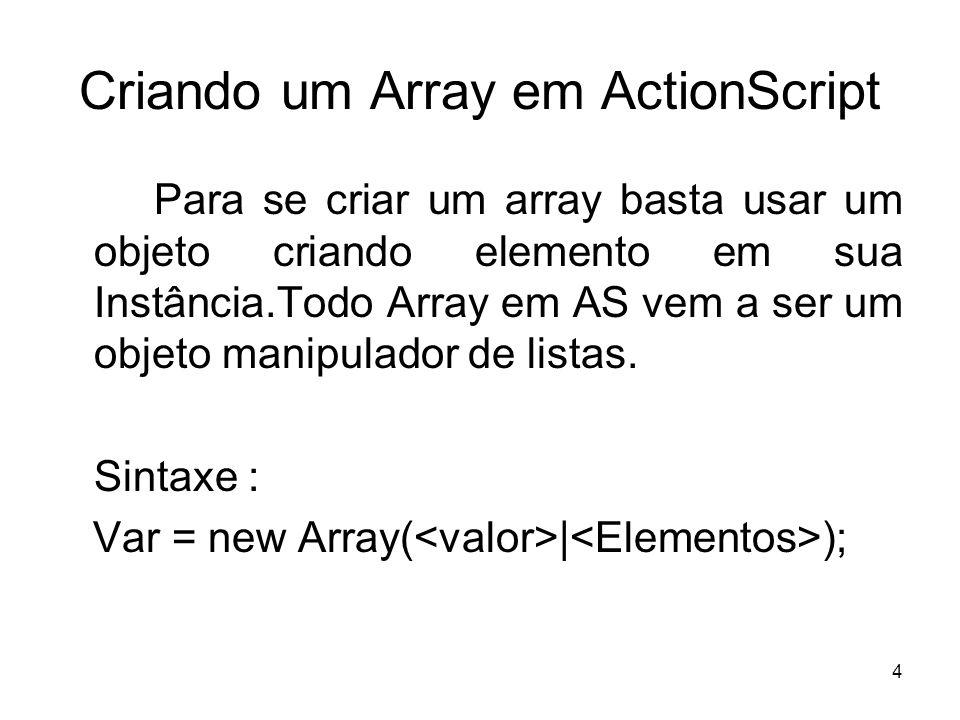 Criando um Array em ActionScript