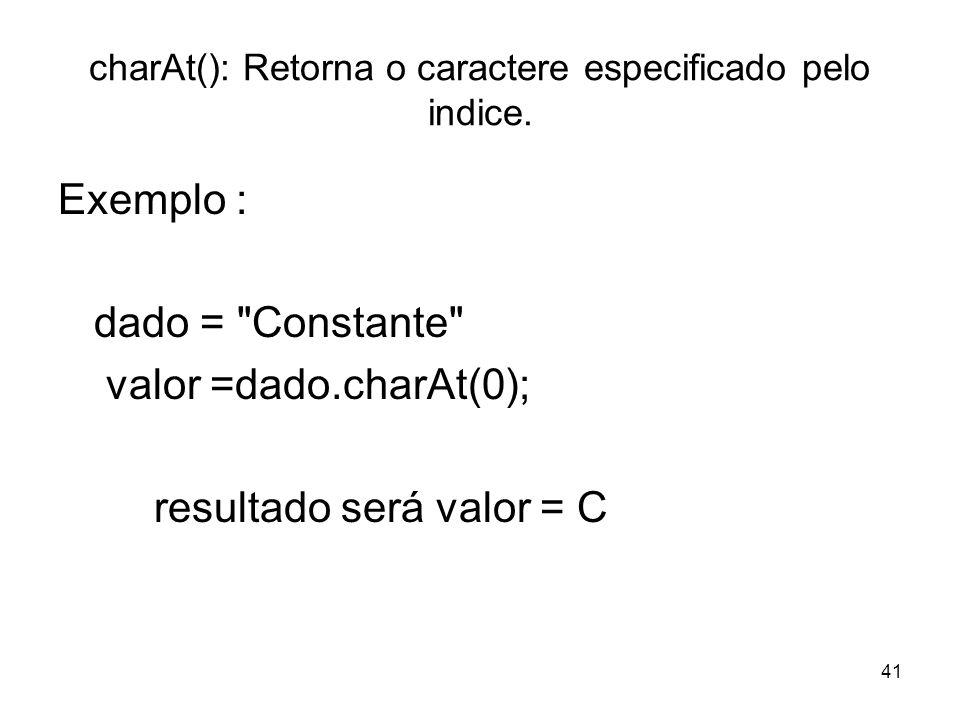 charAt(): Retorna o caractere especificado pelo indice.