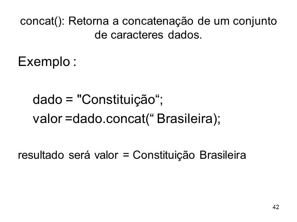 concat(): Retorna a concatenação de um conjunto de caracteres dados.