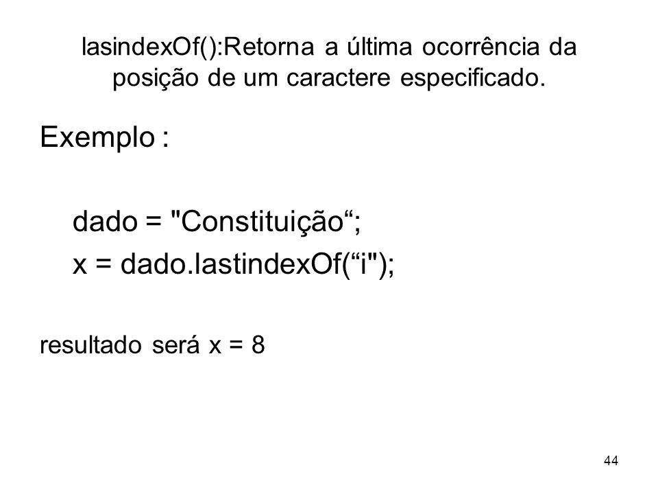 x = dado.lastindexOf( i );
