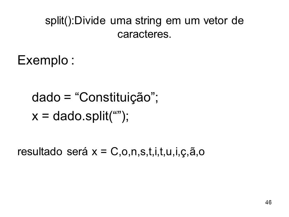 split():Divide uma string em um vetor de caracteres.