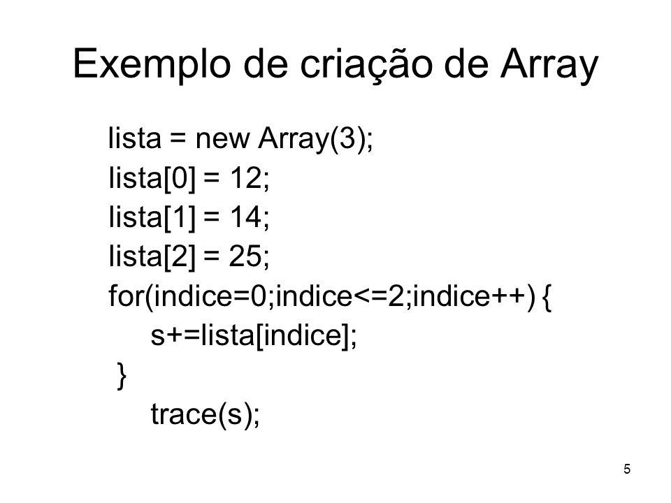 Exemplo de criação de Array