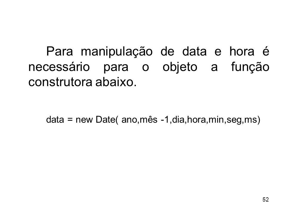Para manipulação de data e hora é necessário para o objeto a função construtora abaixo.