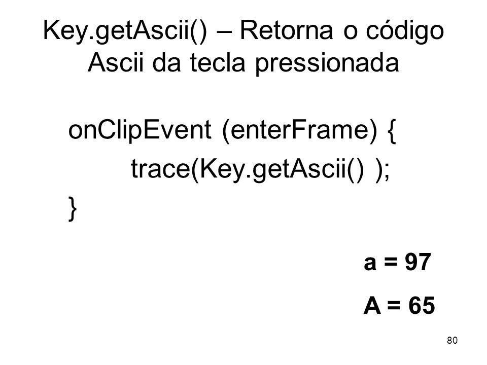 Key.getAscii() – Retorna o código Ascii da tecla pressionada