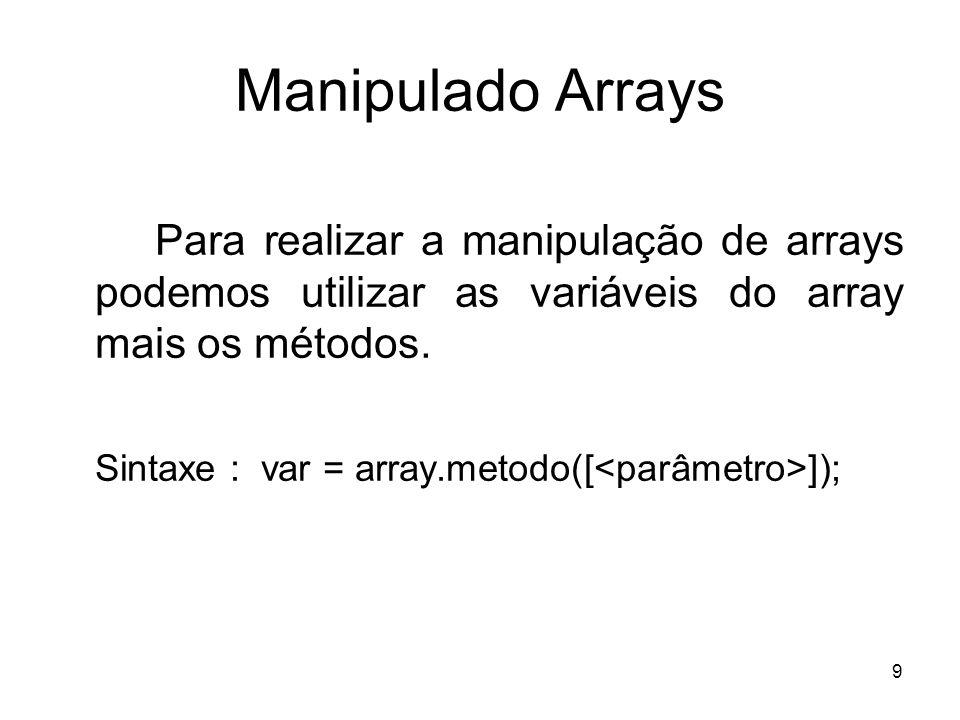Manipulado Arrays Para realizar a manipulação de arrays podemos utilizar as variáveis do array mais os métodos.