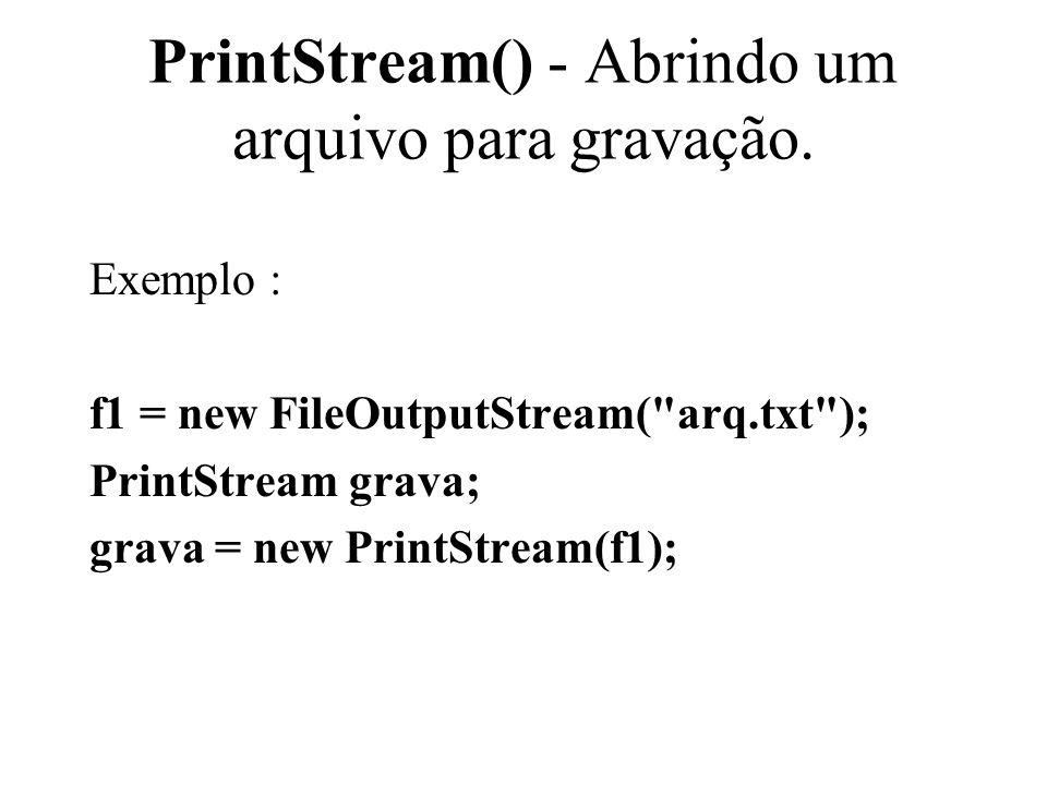 PrintStream() - Abrindo um arquivo para gravação.