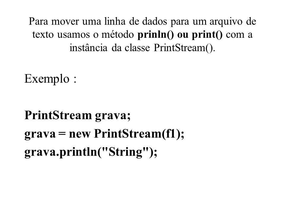 grava = new PrintStream(f1); grava.println( String );