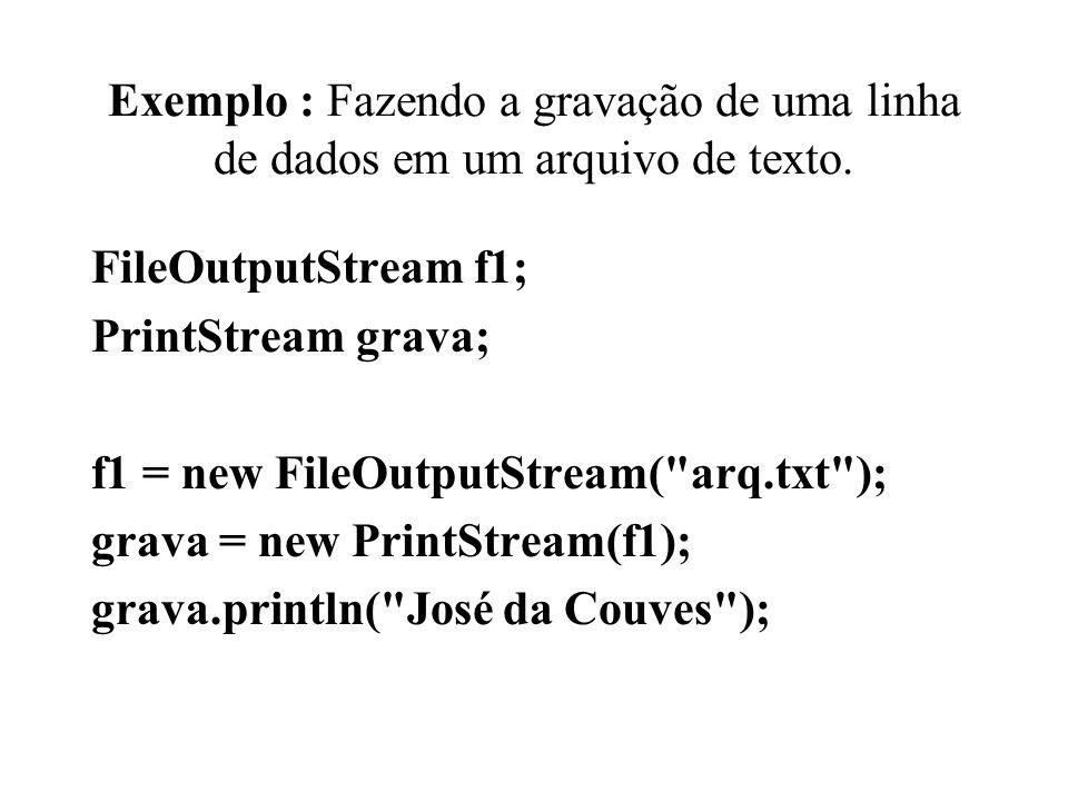 Exemplo : Fazendo a gravação de uma linha de dados em um arquivo de texto.