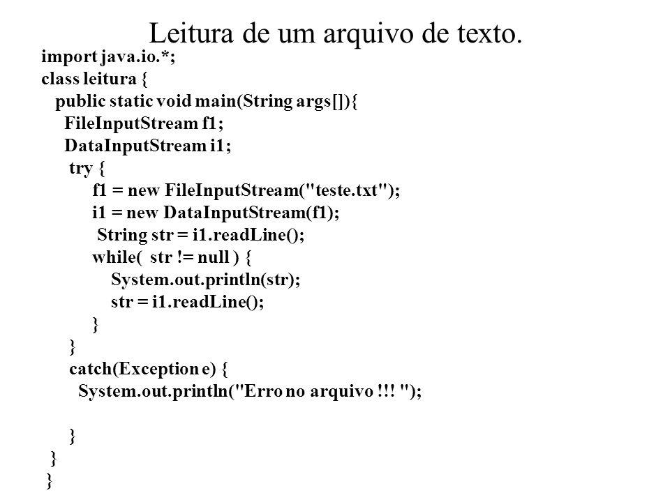 Leitura de um arquivo de texto.