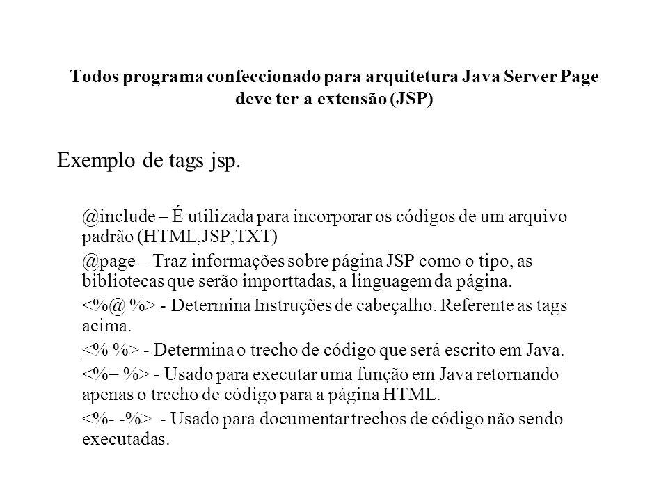 Todos programa confeccionado para arquitetura Java Server Page deve ter a extensão (JSP)