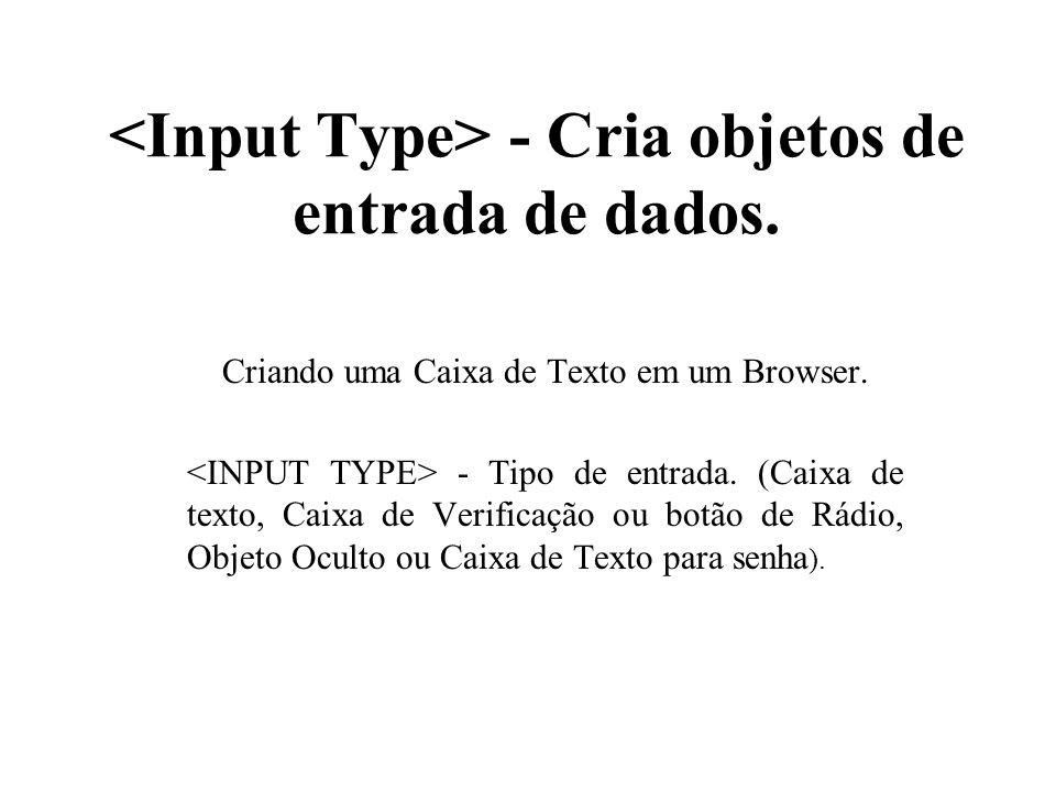 <Input Type> - Cria objetos de entrada de dados.
