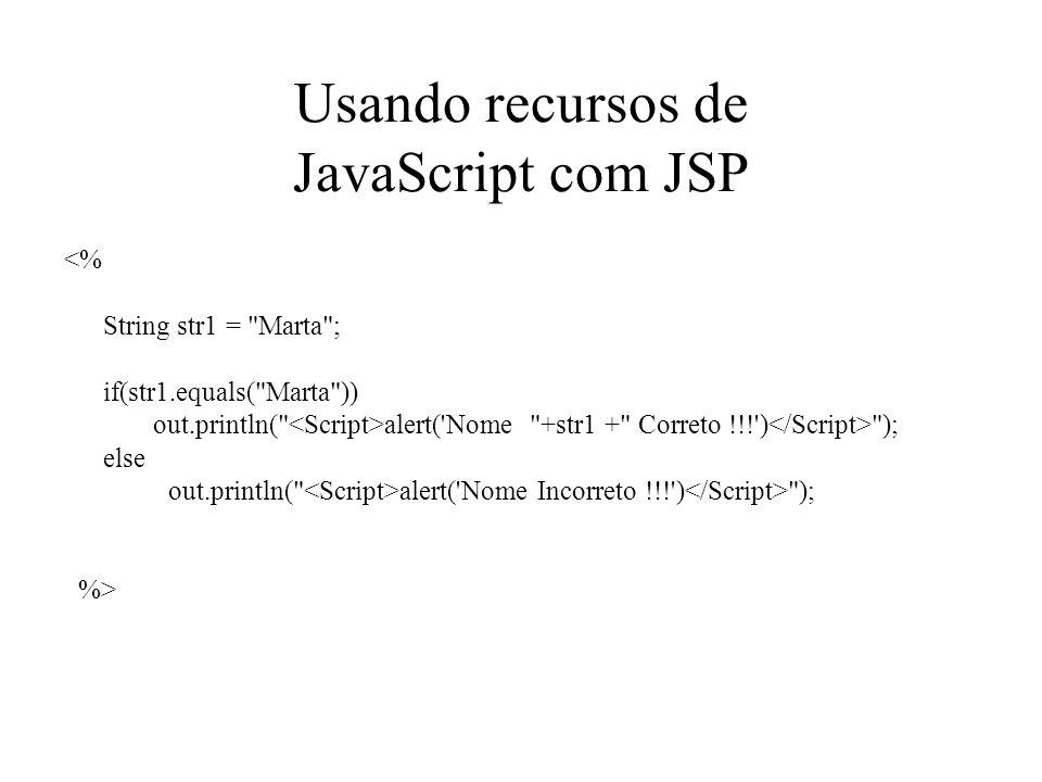 Usando recursos de JavaScript com JSP